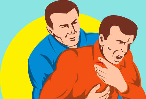 illustration of man choking