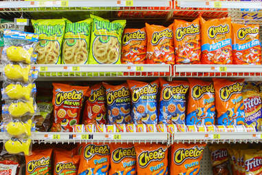 Cheetos stocked in grocery shelves
