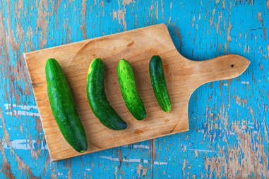 cucumbers and cutting board