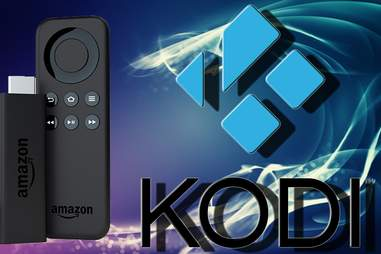 Kodi logo and Amazon Fire Stick