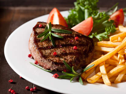 steak, french fries