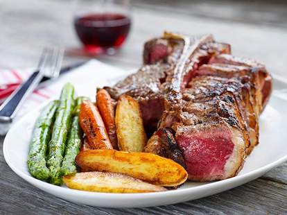B&B Butchers & Restaurant steak green beans fries wine thrillist houston