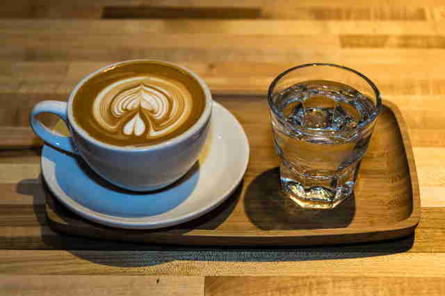 Rising Star Coffee Roasters, latte and water
