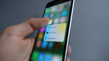 3d touch menu on iPhone 6s