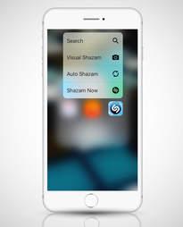 screenshot of Shazam shortcut menu on iphone 6s