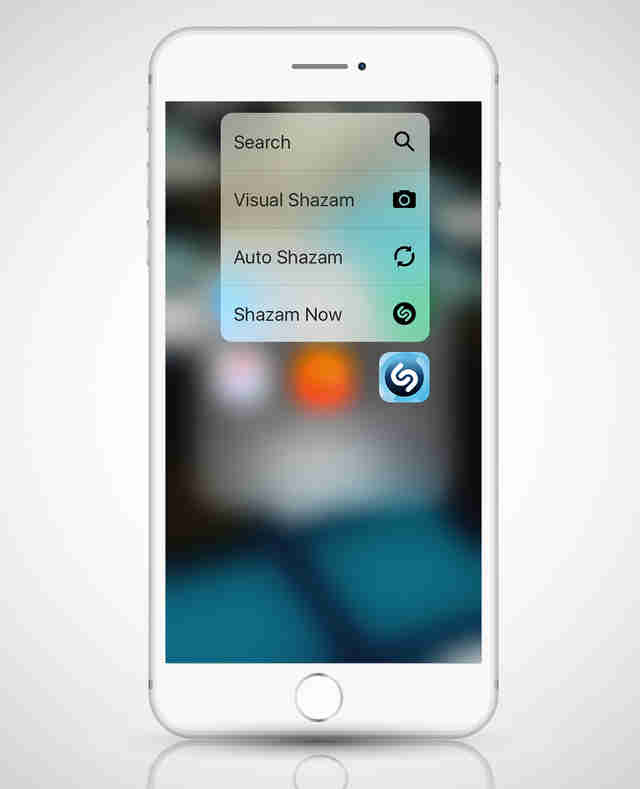 screenshot of Shazam shortcut menu on iphone 6s