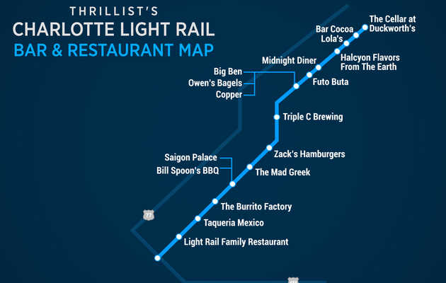 The Best Spots for Eating and Drinking Along Charlotte's Blue Line Light Rail