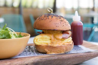 breakfast burger, breakfast sandwich