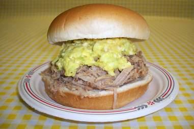 Bill Spoon's BBQ, pulled pork egg sandwich