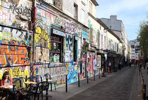 Flea Market graffitied wall and street thrillist