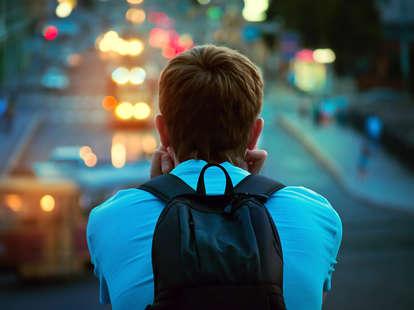 guy overlooking city