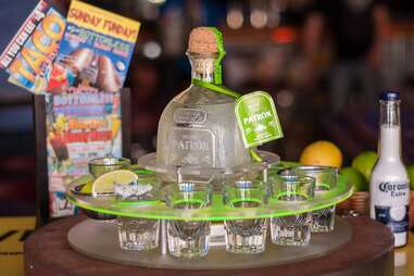 Cabo Cantina tequila shots neon green tray