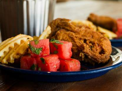 Spring Chicken, fried chicken and watermelon