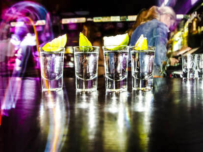 Tequila shots in bar
