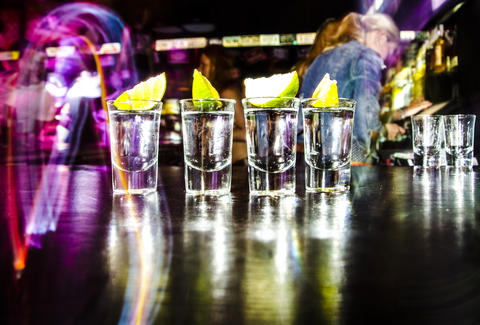 Tequila shots in bar