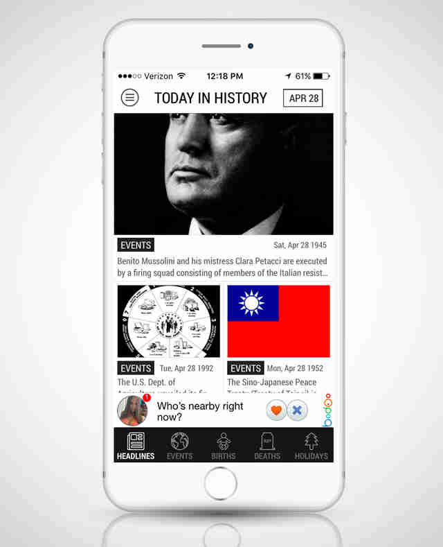 screenshot of TDIH in iphone 6