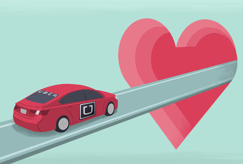 Uber driving into a heart tunnel of love