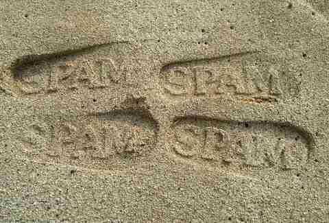 Spam marks in sand