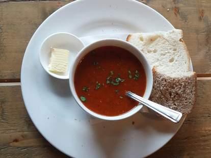 red pepper & coriander soup