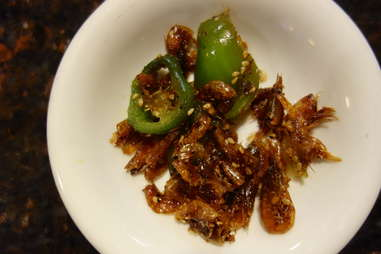 Saewoo or myulchi bokkeum (Fried dried shrimp or anchovies)