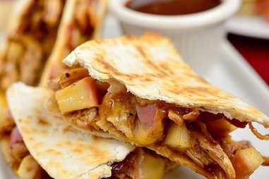 bbq chicken apple bacon quesadilas