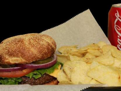 Camy's Delivery burger chips black background thrillist memphis
