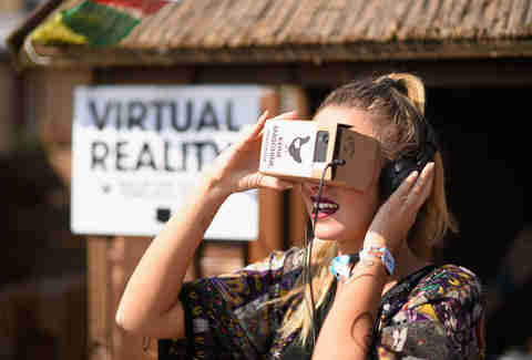 Woman using virtual reality glasses