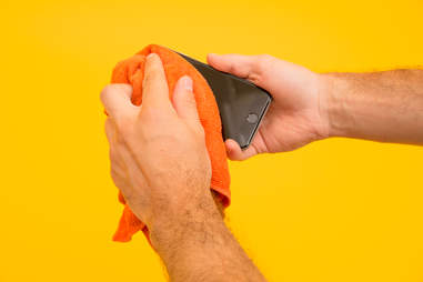 Use a damp microfiber cloth to clean iPhone