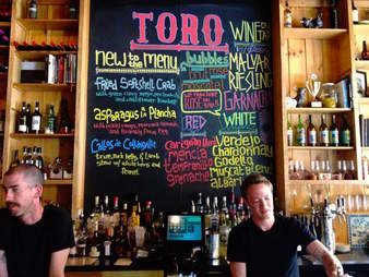 Toro bartender menu chalkboard colored thrillist boston
