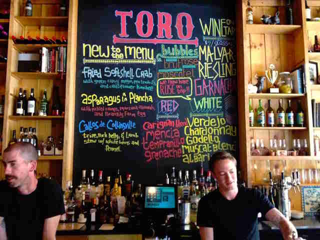 Toro bartender menu chalkboard colored thrillist boston