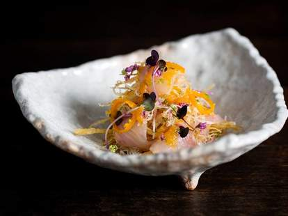 Sea bass sashimi salad