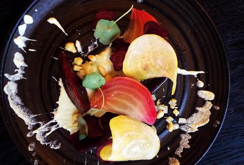 beetroots, fermented apple & pine