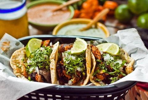 La Lagartija Taqueria 3 tacos in basket thrillist chicago