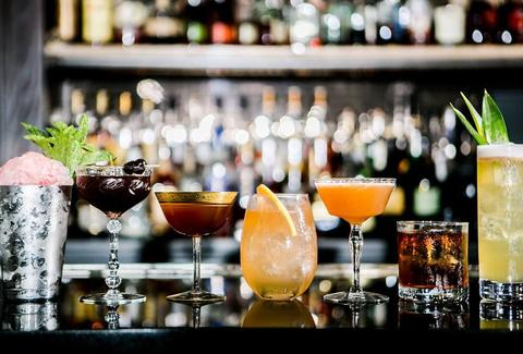 The Berkshire Room craft cocktails thrillist chicago glasses on bar
