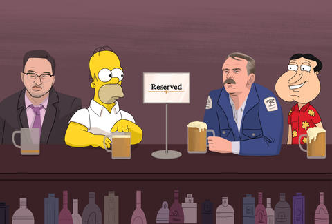 bar regulars homer simpson quagmire clavin ruxin