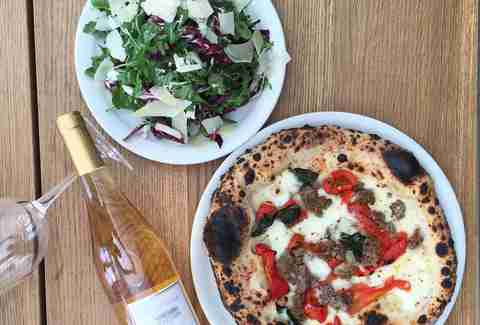 pizza, salad and wine