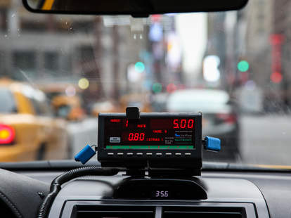 A taxi cab meter