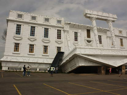 upside down white house
