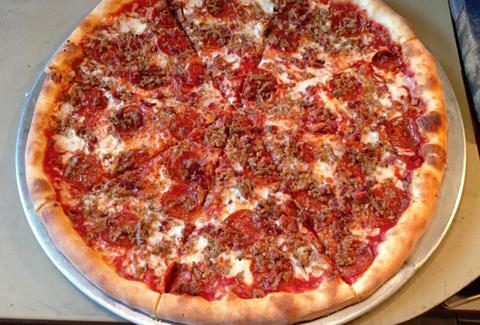 Pepperoni Sausage & Bacon pie from Vincenza's Pizza & Pasta in cleveland