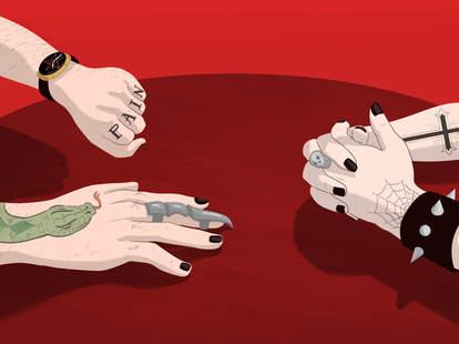 Jason Hoffman illustration of metalheads dating