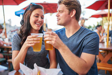 two people on a beer date
