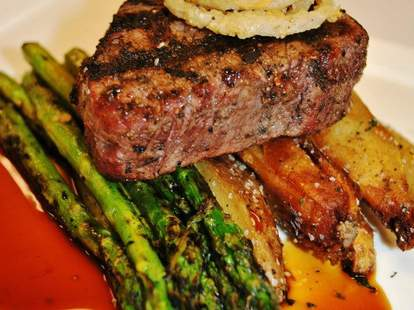 Filet Mignon with Roasted Potatoes and Asparagus