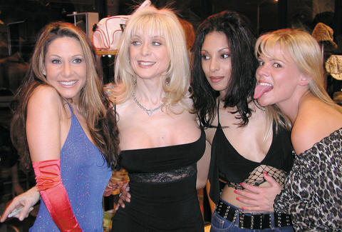 Porn star Nina Hartley with friends