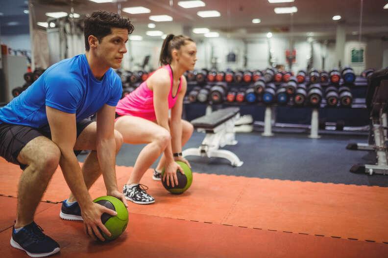medicine ball slams at the gym