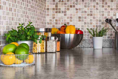 kitchen counter fruits and vegetables