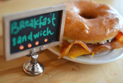 donut breakfast sandwich