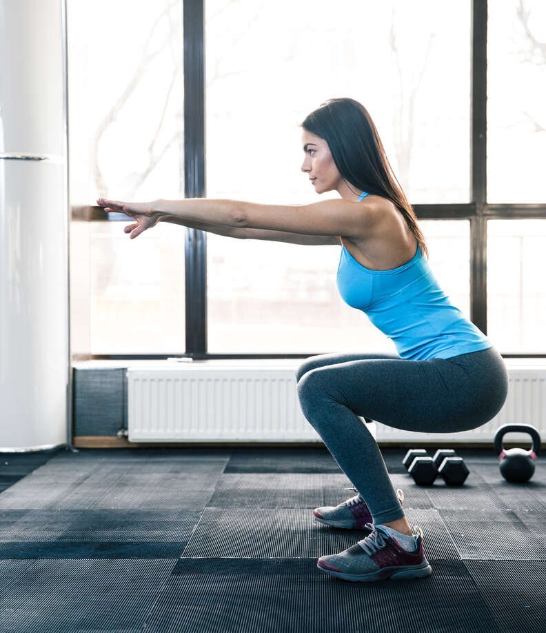 squatting woman