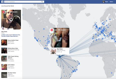 Facebook Live Video map screenshot