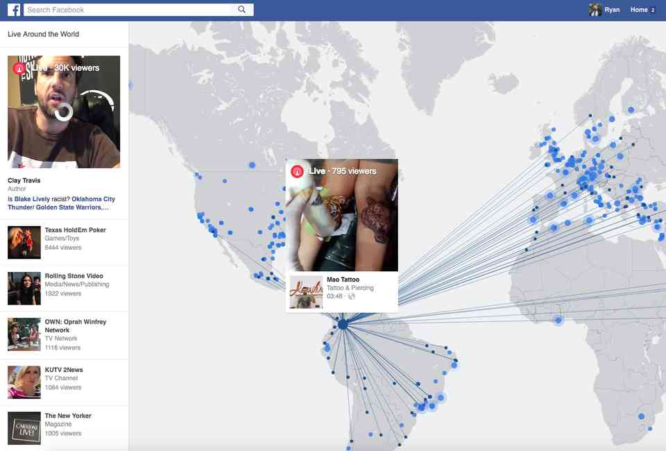Facebook Adds New Live Video Map to Website - Thrillist