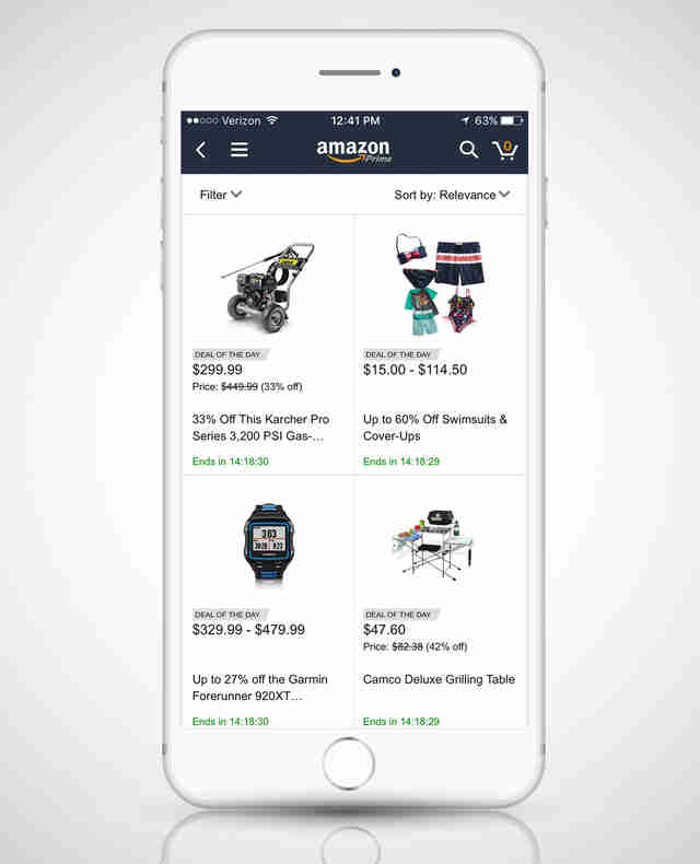 screenshot of Amazon app in iphone 6